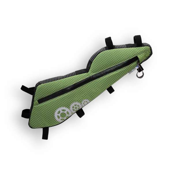ROBO-KIWI Bikepacking Frame Bags - Triangulator DGS - single, lichen green (custom shape) (4)