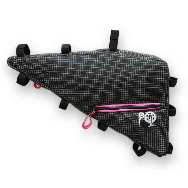 ROBO-KIWI Bikepacking Frame Bags - Triangulator Bag DGS - double, hot pink trim (5)